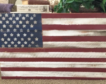 Rustic Distressed Wood Flag, Fourth Of July, July 4th Americana, Distressed Wood Sign, American Flag, Stars and Stripes Home, large 3ftx2ft