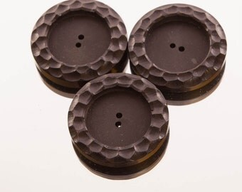 Three large black vintage buttons, 42 mm, coat buttons, patterned buttons, round, two holes, patterned edges, matt black front,