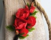 FREE SHIPPING! Cold Porcelain Handmade Carmen Pendant flowers