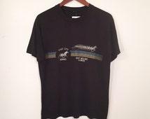 Vintage 80s Quad City Downs Horse Racing Shirt Medium
