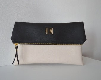 Black and cream foldover clutch, Pesonalized bridesmaid gift