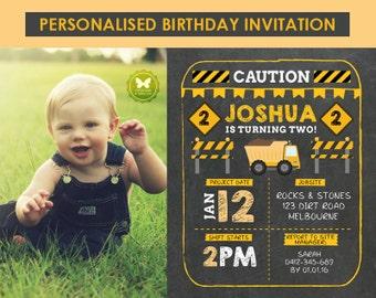 Custom Printable Construction Birthday Invitation, Chalkboard Birthday Invitation, Construction Invitation, 1st 2nd 3rd 4th 5th 6th Birthday
