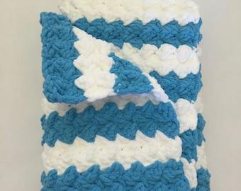 Crochet Baby Blanket, Baby Blanket, Blue, White, Stripes, Stroller, Car Seat, Travel Size, Photo Prop, Gift