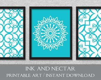 Printable Art, Set Of 3 Prints, Printable Wall Art, Turquoise Art, INSTANT Part 88