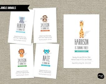 JUNGLE ANIMALS INVITATION ~ birthday party - Elephant - Giraffe - Lion - Owl - Monkey  - Printable File