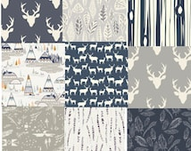 Navy Blue Cotton Fabric Bundle, Quilting Weight, Elk, Stags, Deer Head Antlers, Tee Pees, Fat Quarter Bundle, Feathers, Tree Strip, Gray