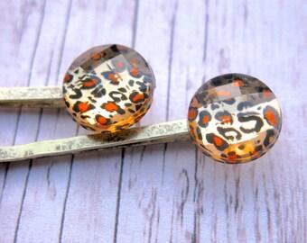 Leopard Print Hair Clips, Cheetah Print Hair Clips, Animal Print Hair Accessories