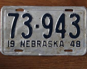 Vintage license plate Nebraska 1948