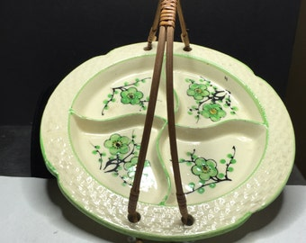 FINAL SALE, Divided Serving Plate with Rattan Handle, Good Condition, Marked K, Made in Japan