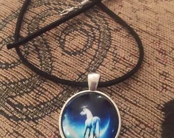 Unicorn pendant on black suede necklace