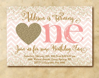 Valentine First Birthday Invitation printable/Digital File/heart, gold, pink and red, glitter, girl birthday/Wording can be changed