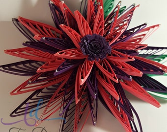 Quilled Flowers//Purple Flowers//Pink Flowers//Paper Flowers//Fringed Flowers