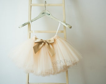 Baby TUTU Tulle Skirt/Newborn Baby Girl Infant Birthday Gift/Baby Photo Prop/Flower Girl Skirt in Blush Pink/Ivory/Champagne with Bow