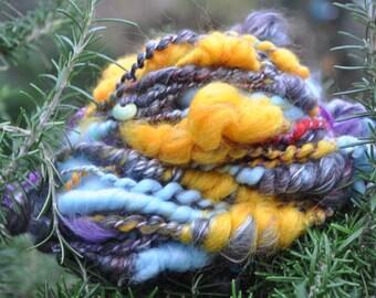 Wool spun at the spinning wheel