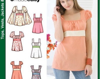 Simplicity sewing pattern 3750 Top (Tunic), 6 Styles, Misses, Womens, Teen Girls - new and uncut