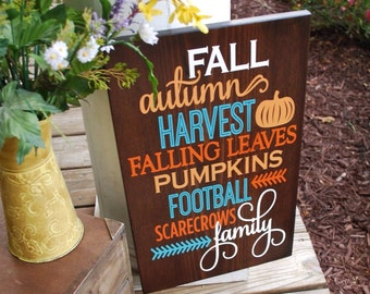 Fall wood sign.  Fall wood sign, Harvest, Harvest sign, Autumn home decor, scarecrows, football, pumpkins, fall sign, fall, autumn.