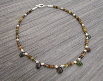 gemstone necklace with tourmaline and sterling silver beads