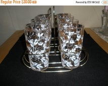 Federal Glass Tumbler Set Vintage 1950's Gold Tone Rack Mid Century Barware Drinkware Kitchen Dining Decor Collectible - Bar068