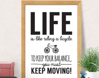Life bicycle quote, Motivational Print, Motivational Poster, Motivational Quote, Minimalist Wall Decor, Inspirational Quotes, Modern print