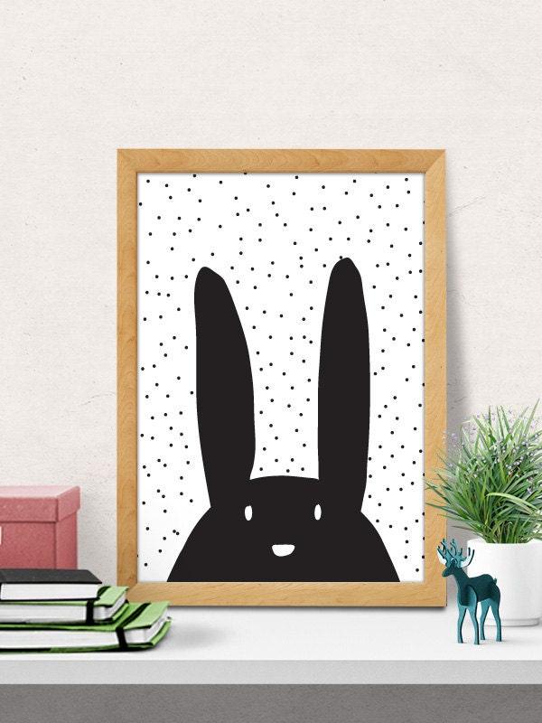 Bunny print nursery wall art modern nursery decor cute - Modern nursery wall decor ...