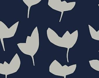 Large Tulips on Navy Fabric - Hemma by Lotta Jansdotter for Windham Fabrics - Emmi in Denim - Fabric by the Half Yard