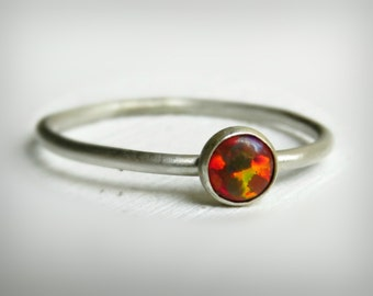 Sterling Silver Opal Ring - Stacking Ring - Opal Silver Ring
