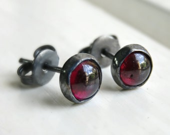 Oxidized Garnet Stud Earrings - Red Stud Earrings - Gemstone Stud Earrings / Gothic Stud Earrings