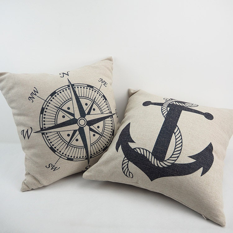 Nautical Coastal Throw Pillows : Throw pillow Nautical Pillow Anchors pillows by HomeDecorYi