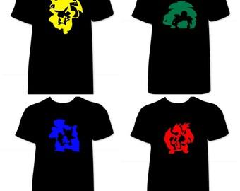 Pokemon Go shirt, Pokemon Shirt, Pokemon silhouette shirt; Charizard; pikachu; bulbasaur; squirtle