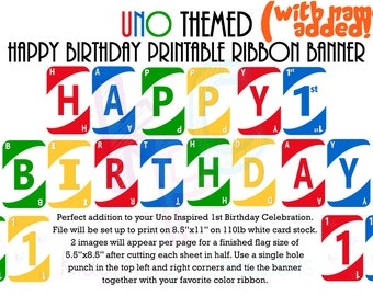 Uno Themed Happy Birthday Printable Ribbon Banner with Name Added {Digital File Only}