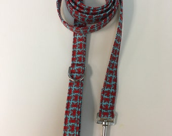 Red and Blue Crab Print Dog Leash