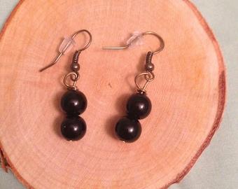 Simple black bead earrings