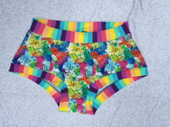 Custom Made To Order Paper Cranes and Rainbow Stripe - Origami Theme Undies - Origami Theme Gift- Pick your Size- xs-xxxl - Scrundie