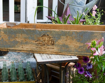 Large Antique Wood Crate, Prime Milwaukee Wooden Box, Rustic Box, Primitive Crate, Very Long wooden Crate, Equestrian Horse Logo Box