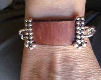 Beautiful leather and metal re-created/recycled  bracelet