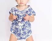 Royal blue Floral Romper, baby girl clothes, boho baby, baby girl, romper, baby girl layette, baby girl romper, baby girl bodysuit, boho