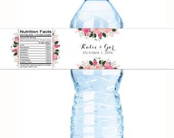 30 Wedding Water Bottle Labels - Floral Bridal Shower Water Bottle Labels - Floral Custom Labels - Country Chic Bottle Labels Wedding Decor