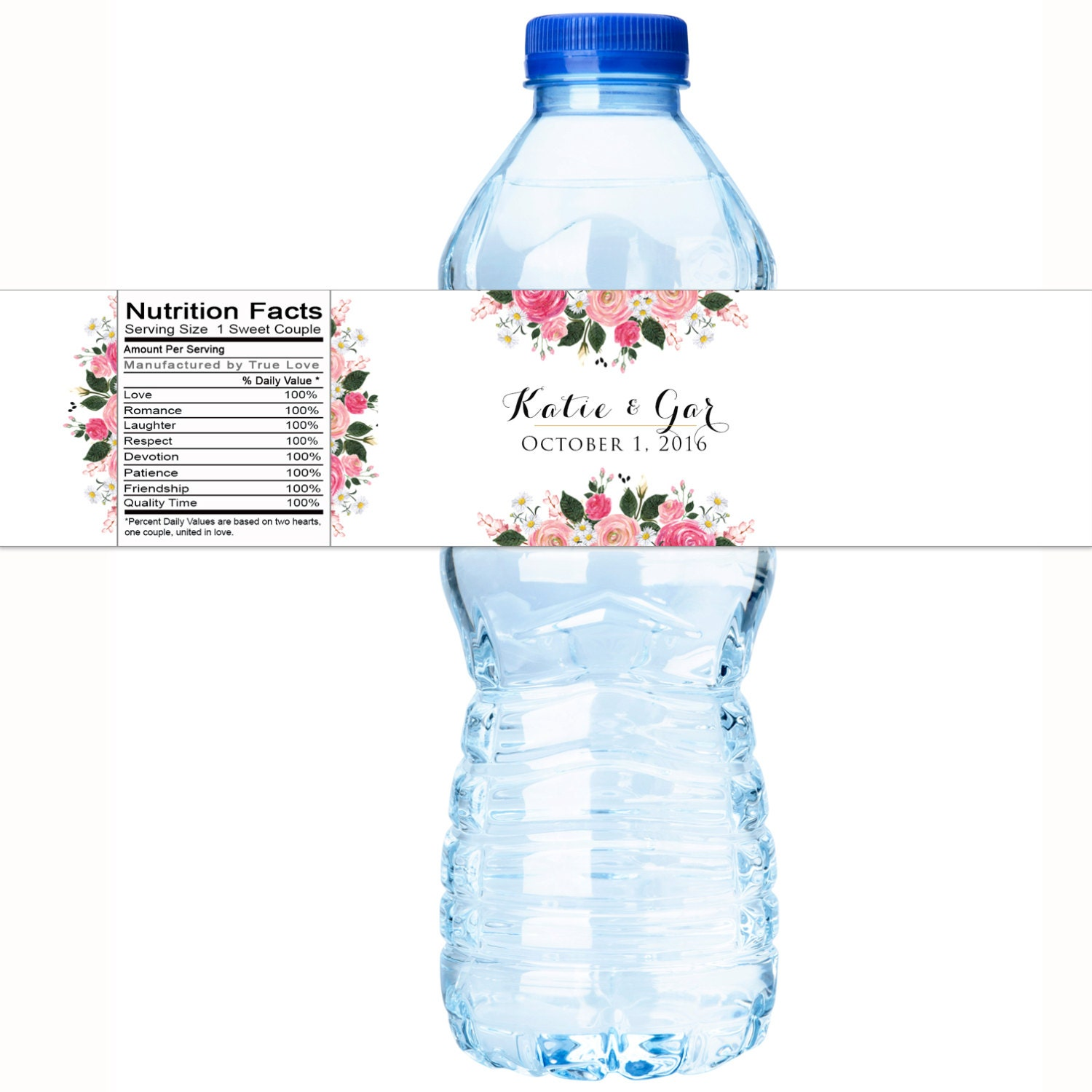 wedding water bottle labels floral bridal shower water