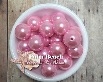 Ten (10) pcsChunky 20mm Bubblegum Acrylic Pearl Finish PINK Beads -10pcs