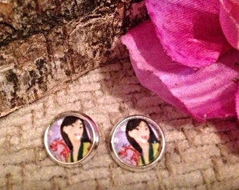 Disney Princess Mulan Stud Earrings. 10mm.