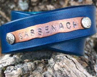 Outlander jewelry - Sassenach - leather bracelet - stamped copper bracelet - blue leather wrap bracelet