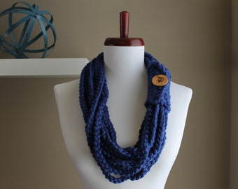 Crochet Rope Necklace Royal Blue