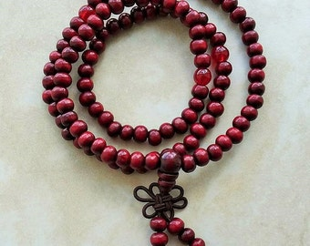 Sandalwood Wrist Mala 108 Beads Elastic Bracelet 20 Inches Red