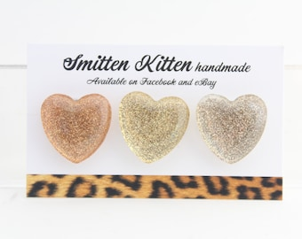Fridge magnets- handmade, strong. Glitter sparkle gold copper heart design. Pack of 3 by Smitten Kitten.