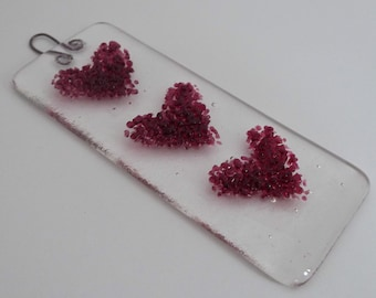 Fused Glass Heart Sun Catcher / Wall  / Window hanging