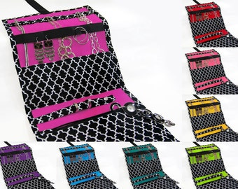 Jewelry Travel Organizer, Jewelry Roll, Jewelry Case in Black and White Cotton Lattice Print With 8 Color Choices