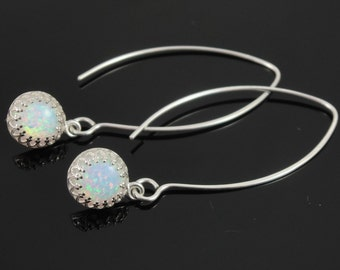 Sterling Silver and White Opal Long Dangle Earrings