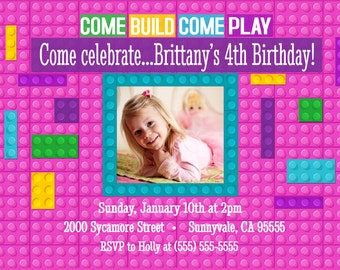 DIGITAL building blocks birthday invite, blocks birthday invitation, girls blocks birthday, girls blocks invitation, girls building