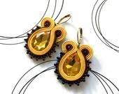 Sunshine Earrings, Orange Brown Earrings, Embroidered Earrings, Bollywood Earrings, Autumn Earrings, Gift Under 20, Christmas Gift