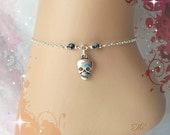 Skull Anklet Silver Skull Ankle Chain Gothic Anklet Ankle Bracelet Gemstone Anklet Snowflake Obsidian Foot Jewellery Goth Punk Rock